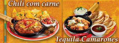 Chili com carne e Tequila Camarones